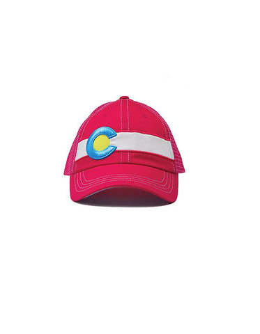 Colorado Flag Trucker Hat In Hot Pink