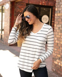 Long Sleeve Pocket Tee by Grace & Lace, Ivory/Charcoal Stripe