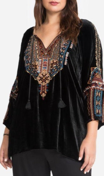 Naomi Velvet Peasant Black Blouse by Johnny Was