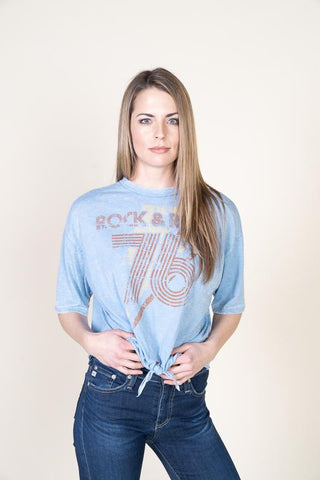 "Vintage Havana ""Rock & Roll"" Graphic Tie Front Tee"