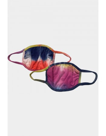 Kids 2-pack Reusable Face Mask, Rainbow Tie-Dye