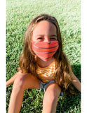 Kids Reusable Face Mask, Coral Bright Stripe
