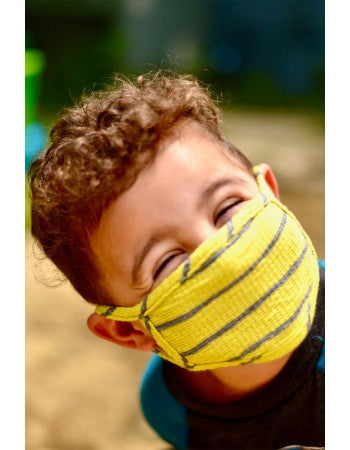 Kids Reusable Face Mask, Lemon Bright Stripe