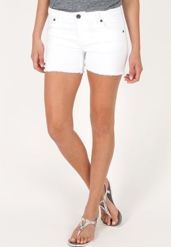Gidget Frayed Hem White Shorts