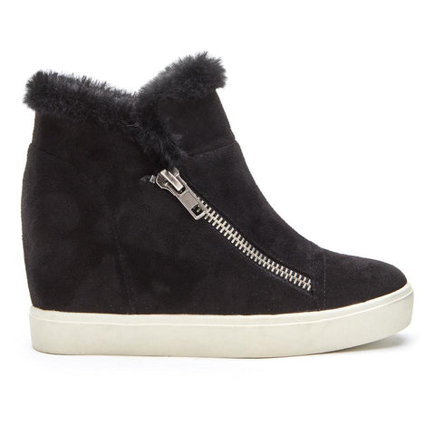 Later Days Wedged Faux Fur Zippered Sneaker in Black