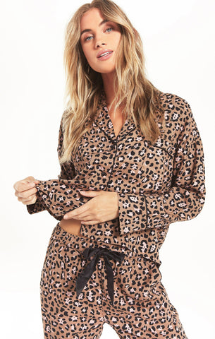 Dream State Leopard PJ Set, Toast