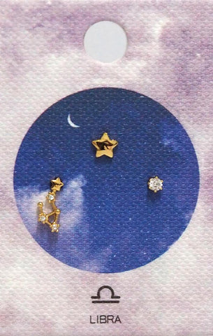 Tai Jewelry Zodiac Constellation Earrings - Libra