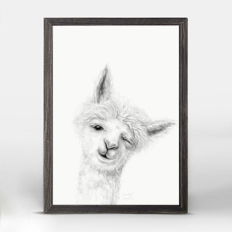 Green Box Carolyn The Llama Mini Framed Canvas