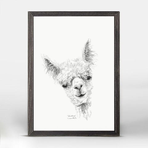 Green Box Christina The Llama Mini Framed Canvas