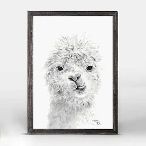 Green Box Milton The Llama Mini Framed Canvas