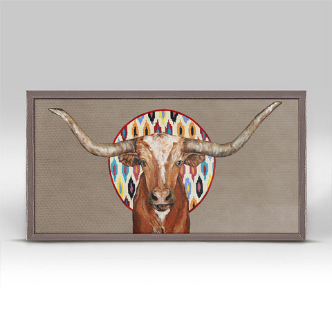 Longhorn on Geo Mini Framed Canvas