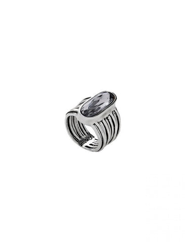 Looping Crystal Ring In Silver