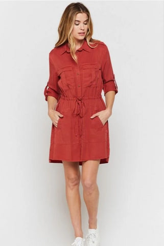 Lupe Shirt Dress In Terra Rouge