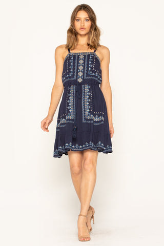Glimmering Sun Sleeveless Dress In Navy