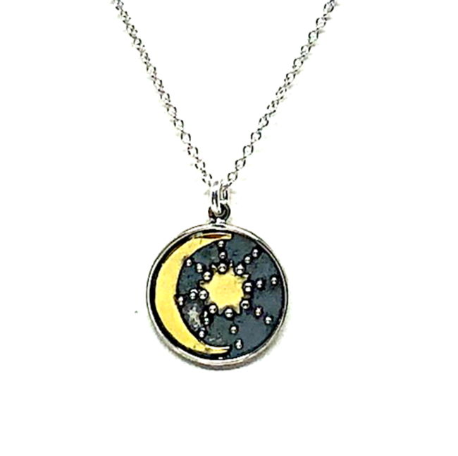 Ara Sun And Moon Necklace Sterling Silver