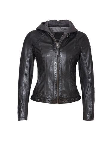 Yoa Black Leather Jacket With Hood