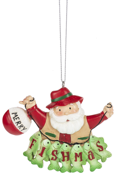 Santa Fishing Ornament, Merry Fishmas