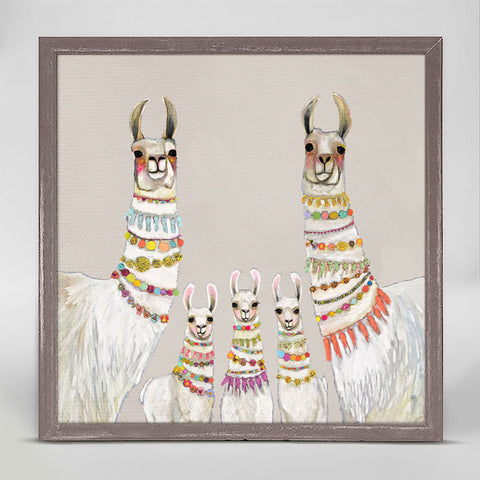 White Llama Family with colorful necklaces