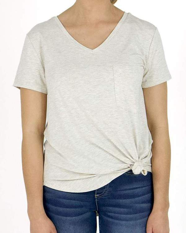 Short Sleeved Perfect V-Neck Tee by Grace & Lace, Oatmeal