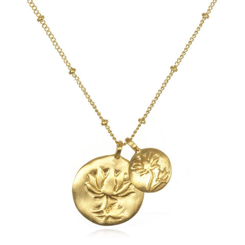 Gold Two Blooms Lotus Necklace