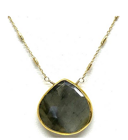 Teardrop Labradorite Stone Necklace Gold