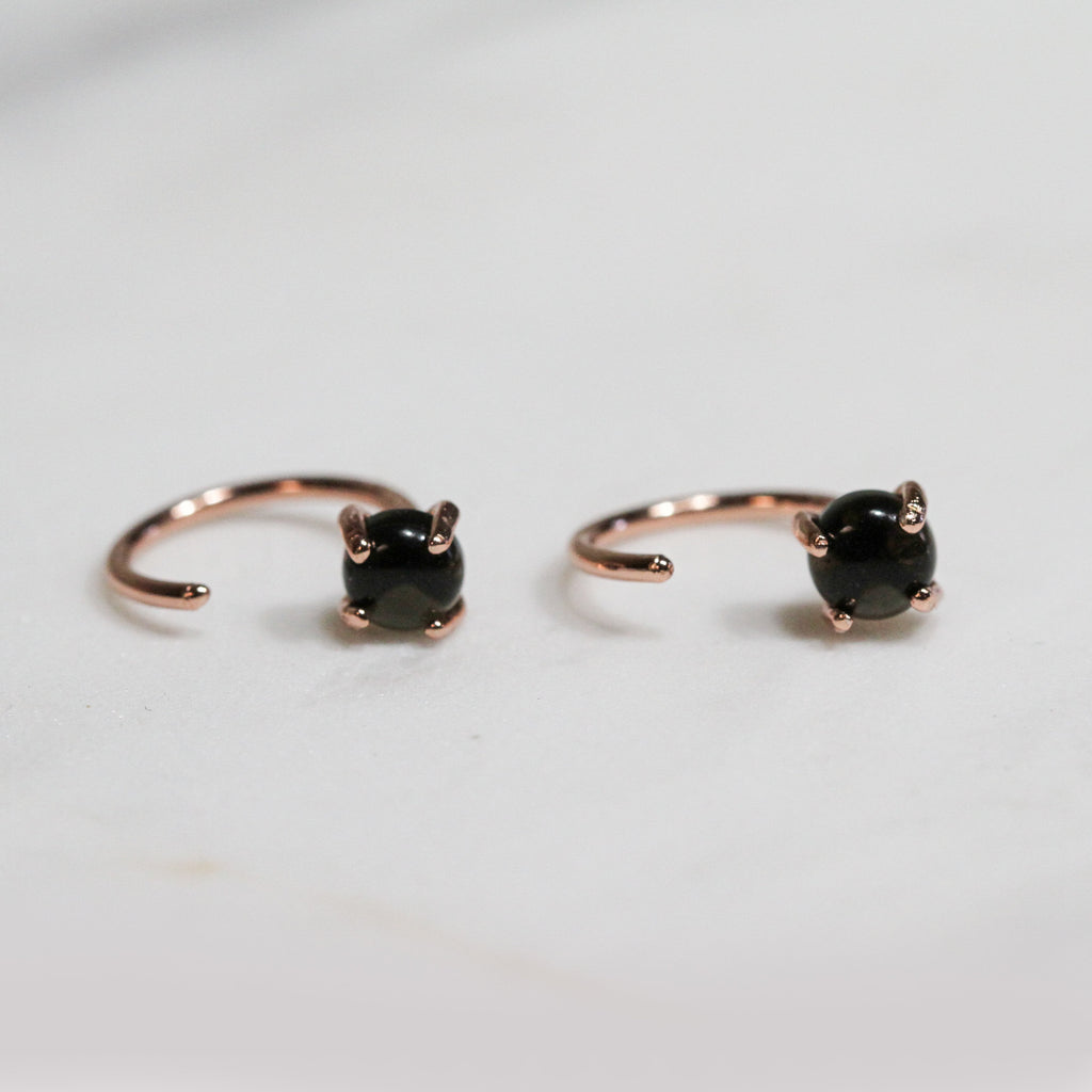 Obsidian Huggie Earrings Jax Kelly