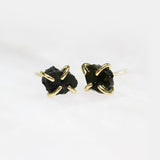 Obsidian Gold Prong Studs Jax Kelly