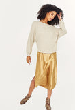 Project Social T ONE WAY COZY OFF SHOULDER - OATMEAL