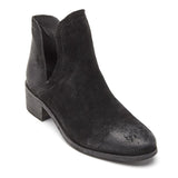 Pronto Black Suede Bootie with Side Cutouts