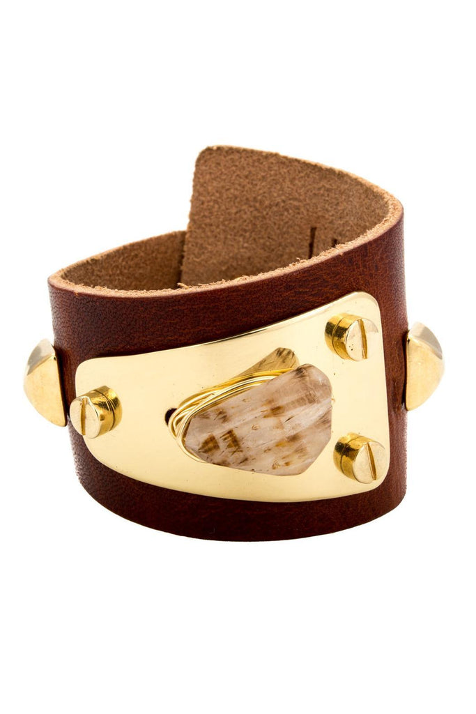 Leather and Brass Cuff Bracelet