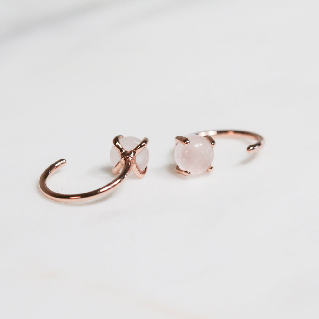 Rose Quartz Huggie Earrings Jax Kelly