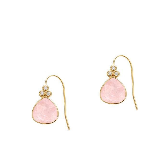Tai Jewelry Rose Quartz Drop Earring With CZ Accent