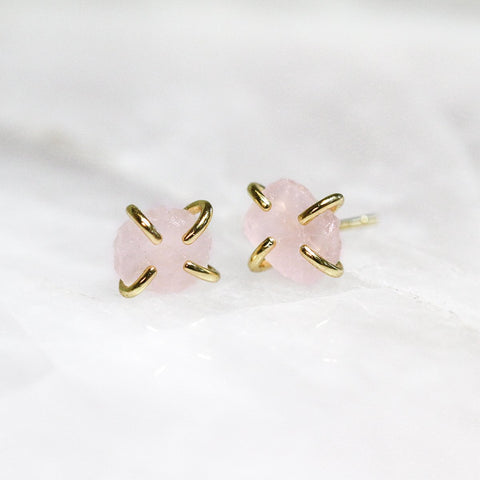 Rose Quartz Gold Prong Studs Jax Kelly