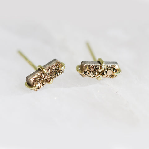 Bar Druzy Stud Earrings In Rose Gold Jax Kelly