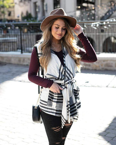 Winter Plaid Vest by Grace & Lace, Ivory/Black