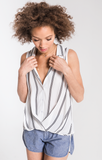 Sete Twist Front Button Up Tank In Off White