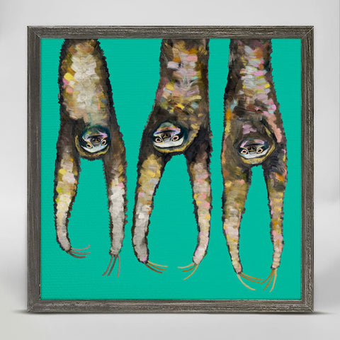 'Sloths Hanging Out on Bright Teal' Mini Framed Canvas