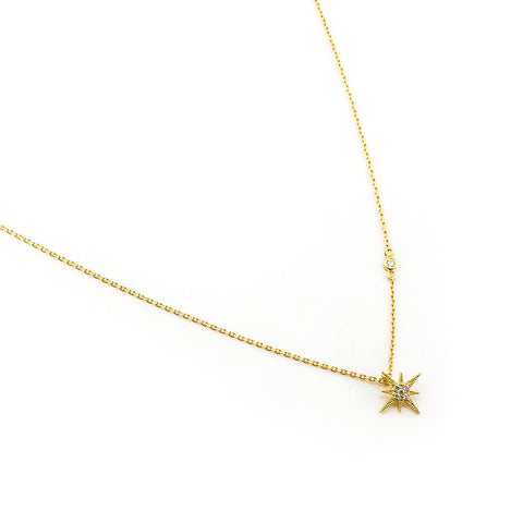 CZ Starburst Pendant Necklace, Gold