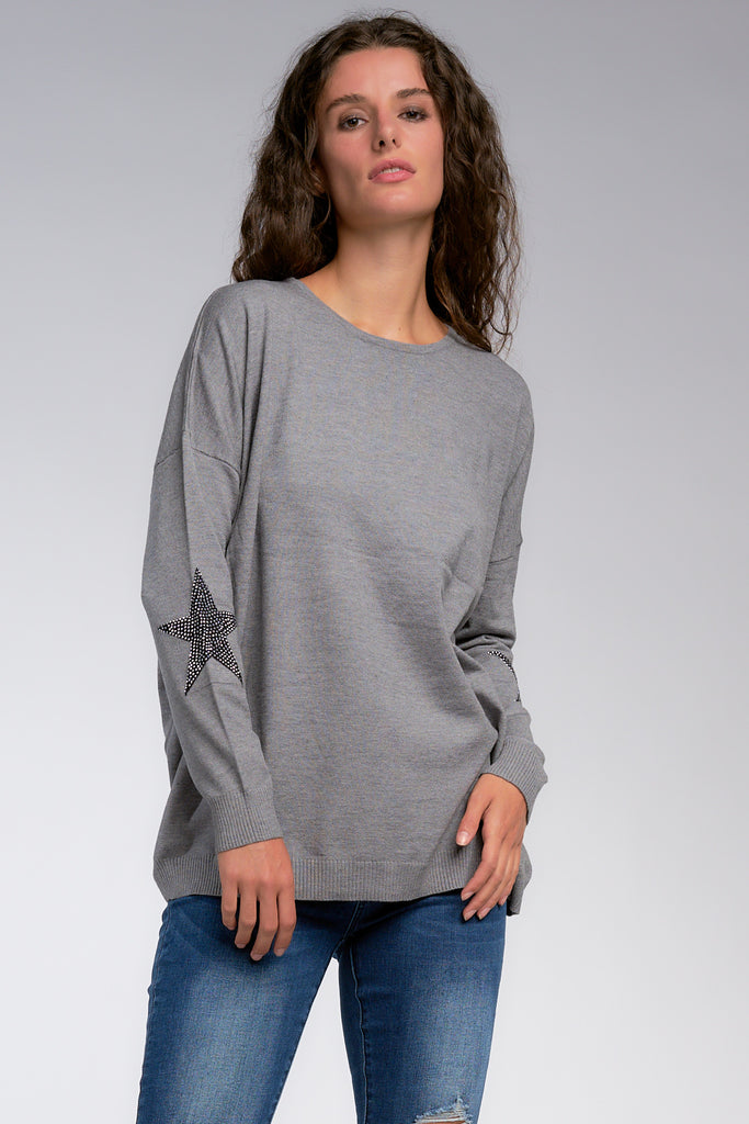 Wren Star Sleeve Top, Grey