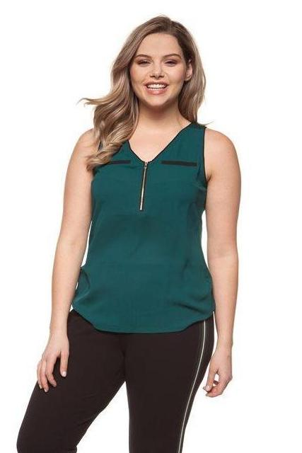 fe552bd4195 PLUS SIZE - Emerald V-Neck Tank With Gold Zipper – Ruby Jane