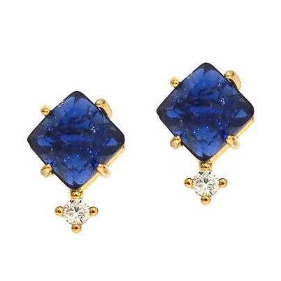 Tai Jewelry Lapiz Blue Stud Earrings