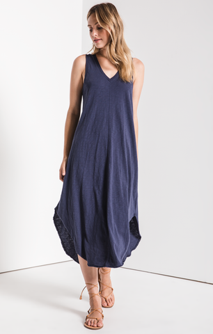 Reverie Midi Dress In Navy
