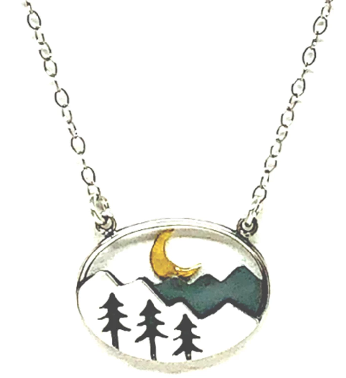 Tori Tree Mountain And Moon Necklace