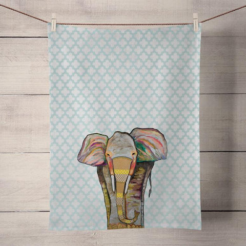 Elephant Trendy Trunk on Patterned Turquoise Tea Towel