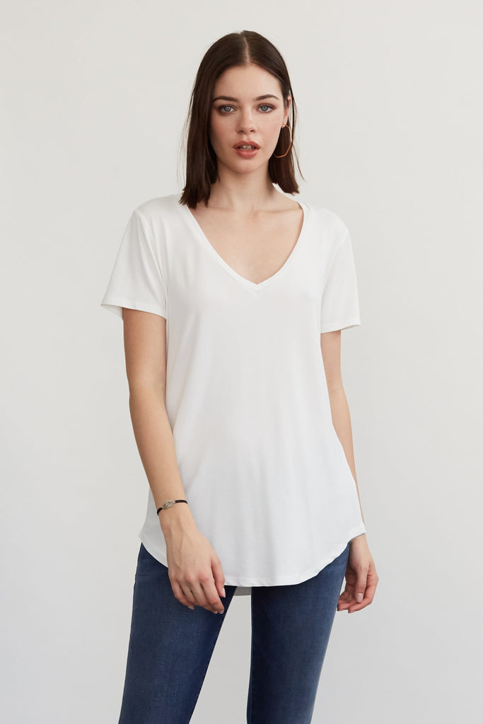 Valentina V-Neck, White