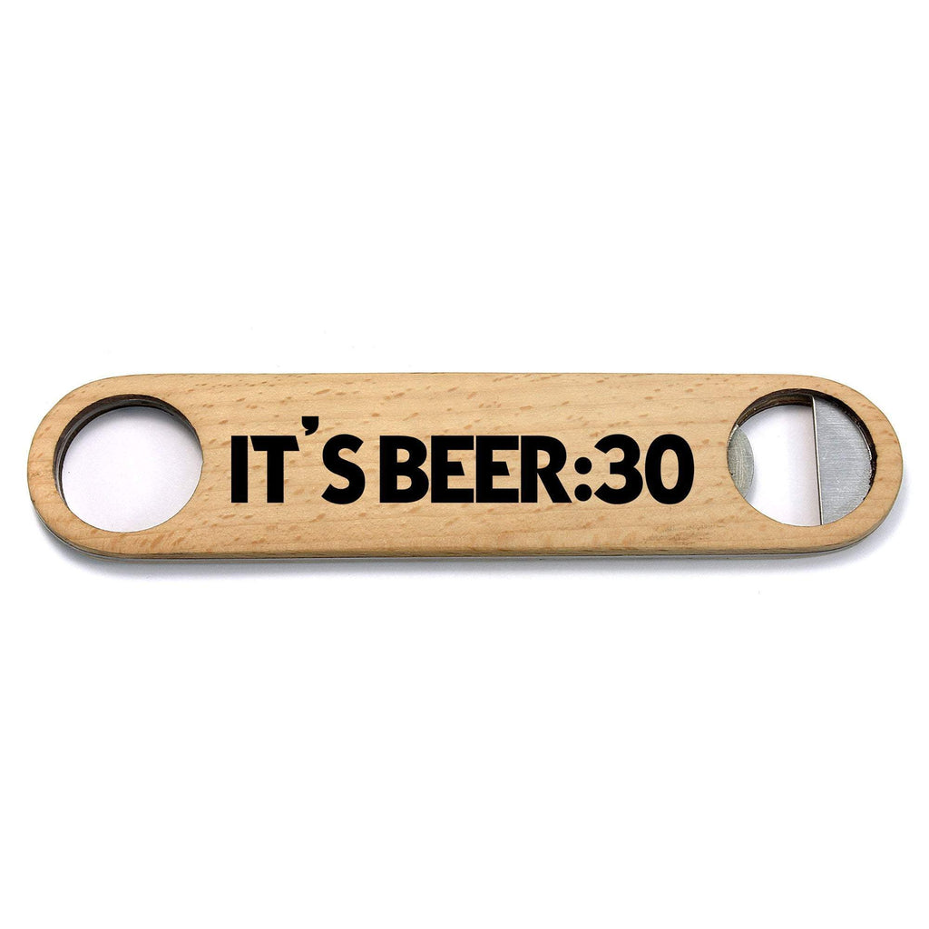It's Beer:30 Wood and Metal Bottle Opener