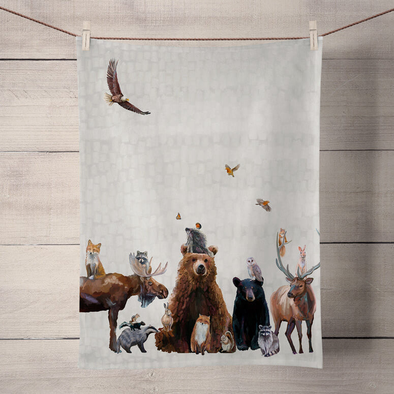 'Woodland Bunch' Tea Towel