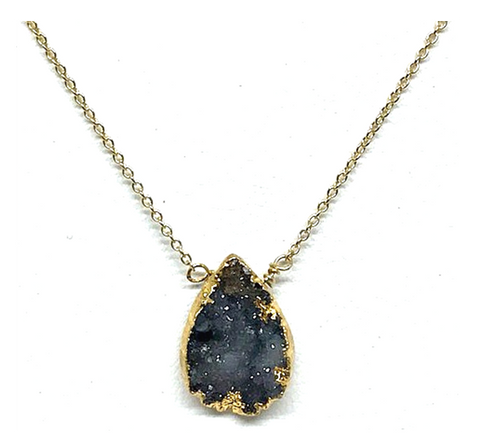 Adel Black Druzy Necklace On Gold Chain
