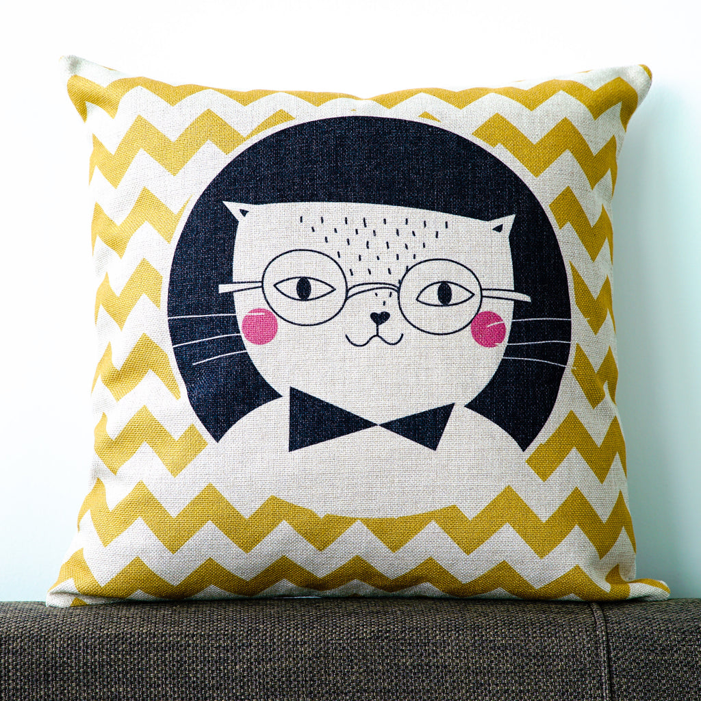 Cat With A Reading Glasses Cushion