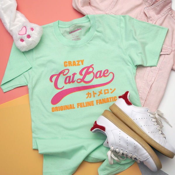 """Crazy Cat Bae"" Mint T Shirt"